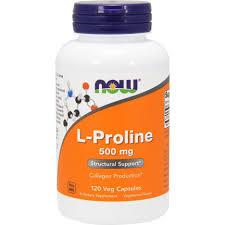<b>L</b>-<b>Пролин</b>, <b>500 мг</b>, Now Foods, L-Proline, 120 растительных капсул