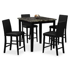 Value City Dining Room Tables Shadow Counter Height Table And 4 Chairs Black Value City