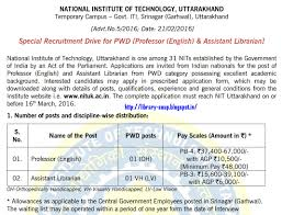 library soup  nituk ac in jobs advt %20no 5%20 %20special%20recruitment%20drive%20for%20pwd%20 officer%20 %20teaching%20post %20 %202016 pdf