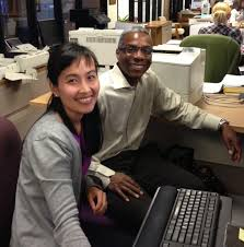 iusd newsflash dr gavin huntley fenner president of the iusd board of education worked assessment specialist thao huynh at the district office