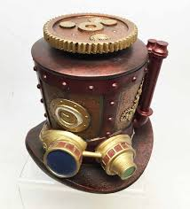 <b>STEAMPUNK</b> MINING MACHINERY HAT JEWELRY BOX RESIN ...