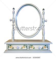 table mirror: empty dressing table mirror isolated on white
