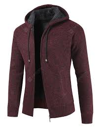 <b>Men</b> Hooded Plus Thick Cardigan Solid Color Coat Sale, Price ...