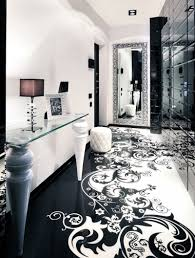 interior design cool blackand white room decoration with floral floor and big mirror furniture house interior architectural mirrored furniture design
