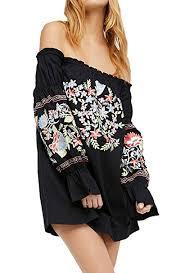 R.Vivimos <b>Womens Floral Embroidered</b> Off Shoulder Long Sleeve ...