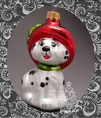 Стеклянная <b>елочная игрушка</b> Собака Долматинец в шляпе 190/с ...