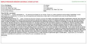 precision grinder universal cover letter universal cover letter samples