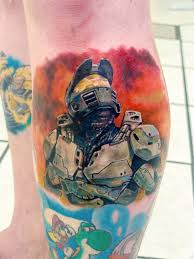 portfolio studio thirteen this halo 2 inspired partial leg sleeve was masterfully completed by our one and only galen his keen attention to detail is put in focus this piece