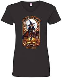 OffWorld Designs Happy Samhain Ladies V-Neck T ... - Amazon.com