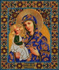 <b>Ткань с нанесенной</b> авторской <b>схемой</b> Образ Божьей Матери ...