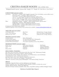 voiceover acting singing resume cristina baker woods cristina
