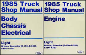 ford f f f foldout wiring diagram original 1985 ford truck and van repair shop manual e f 150 350 bronco f super duty econoline 129 00