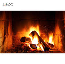 <b>Laeacco</b> Fireplace Wood Fire Flame Exuberant Brick Party Decor ...