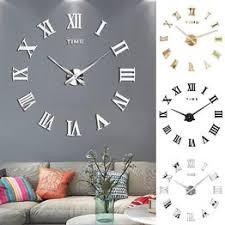 DIY 3D Wall Clock Roman Numerals Large Size Mirrors ... - Vova