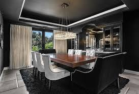 dining room that is all about black white upholstered dining room chair black fur rug regtangular black lacquer dining room
