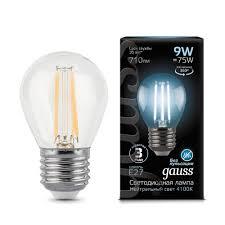 "<b>Лампочка Gauss LED Filament</b> ""Шар"" E27 9W 710lm 4100K 1/10/50 ..."
