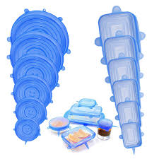 6pcs Reusable <b>Silicone</b> Food <b>Fresh</b> Wrap Stretch Food <b>Cover</b> ...