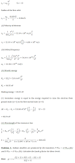 numerical problems based on atomic physics physics assignment