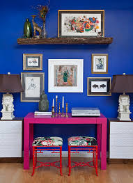 peacock blue walls home office eclectic with blue paint pink desk blue office walls