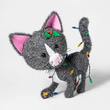 <b>Christmas</b> Incandescent Tinsel <b>Cat</b> Novelty Sculpture Lights ...