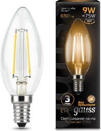 <b>Лампочка Gauss</b> Black LED <b>Filament</b> свеча E14 9W, Теплый свет 9 ...