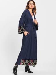 <b>Flower Embroidered</b> Hidden Pocket Detail Belted <b>Abaya</b> -<b>SheIn</b> ...