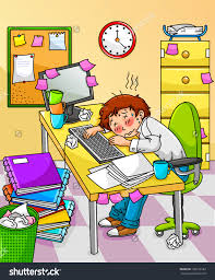 exhausted worker much work do stock vector shutterstock exhausted worker too much work to do