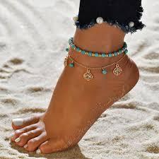Designer <b>Vintage</b> Hallow Flower Anklet Gold Turquoise Anklet ...