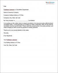 sample insurance cancellation letter business agreement sample letter