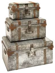 galvanized trunk with rivets and metal strips set of 3 contemporary bar stools bar trunk furniture