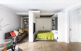 5 to 1 apartment inspiration for a small contemporary bedroom remodel in new york with white compact apartment furniture