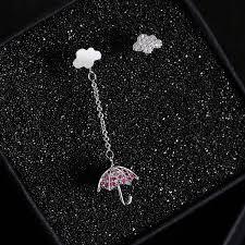 【In Stock】Korean Version <b>S925 Silver Needle Asymmetric</b> Earrings ...