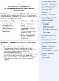 the performance learning plan and year end performance the following are essential points regarding the benefits of these important processes overall objectives of