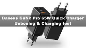 <b>Baseus GaN2 Pro 65W</b> Quick Charger Unboxing & Charging test ...