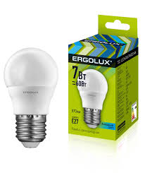 <b>Лампочка Ergolux LED</b>-<b>G45</b>-<b>7W</b>-<b>E27</b>-<b>4K</b>, Холодный свет 7 Вт ...