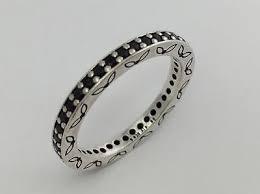 authentic pandora retired thin eternity ring black crystal 190618nck sz 65 new authentic black crystal