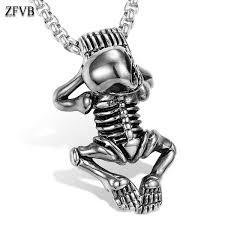 Wholesale <b>ZFVB Punk</b> Lovely <b>Skull</b> Skeleton Pendant Necklaces ...