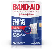 <b>Band</b>-<b>Aid</b> Brand <b>Clear</b> Strips Discreet Bandages Assorted Sizes, 45 ct