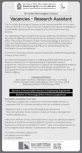 research assistant at sri lanka technological campus sltc sri lanka technological campus sltc is seeking candidate for research assistant position you need a bachelor s degree a minimum of 2nd class upper