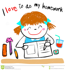 Happy kid love to do homework illustration Dreamstime com