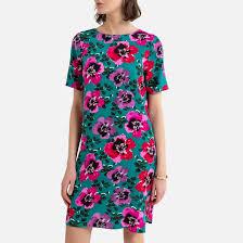 <b>Платье</b>-футляр <b>короткое</b> с цветочным принтом рисунок/зеленый ...