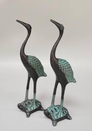 2019 <b>Chinese</b> Archaize Craft <b>Bronze Red Crowned Crane</b> A Pair ...