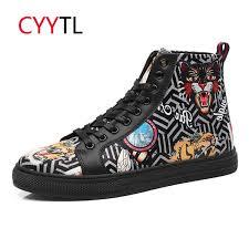 <b>CYYTL</b> New Fashion Men <b>Casual Leather</b> Shoes High Top Bengal ...