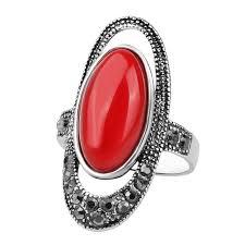 Винтажное большое красное <b>кольцо</b> с зеленым камнем ...