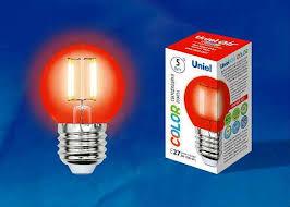 <b>Лампа</b> светодиодная <b>Uniel LED</b>-<b>G45</b>-5W/RED/E27 GLA02RD Air ...
