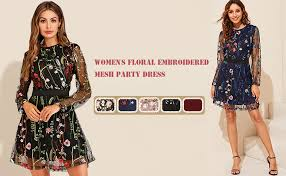 Milumia <b>Women's</b> Round Neck <b>Floral Embroidered</b> Mesh Long ...