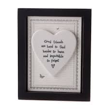 new job gifts available now from mollie fred online store framed good friends are hard to porcelain heart