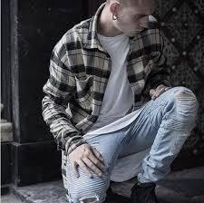 <b>QoolXCWear mens</b> Strech ripped biker jeans skinny light blue ...