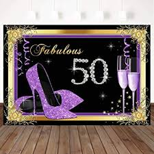 Mocsicka Fabulous 50th Birthday Backdrop Purple ... - Amazon.com