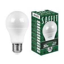 Лампа <b>светодиодная</b> SAFFIT SBA6020 <b>Шар</b> E27 20W 6400K ...
